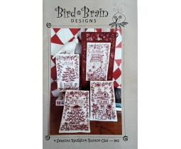 Bird Brain Desings, 4 seasons Redwork Button ups