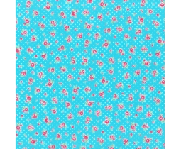 Bright Blue Tiny Floral & Dots