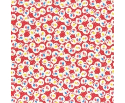 Red Flowers in Circles 1930's Print